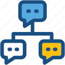 chat bubbles, networking, social community, social media, social network icon