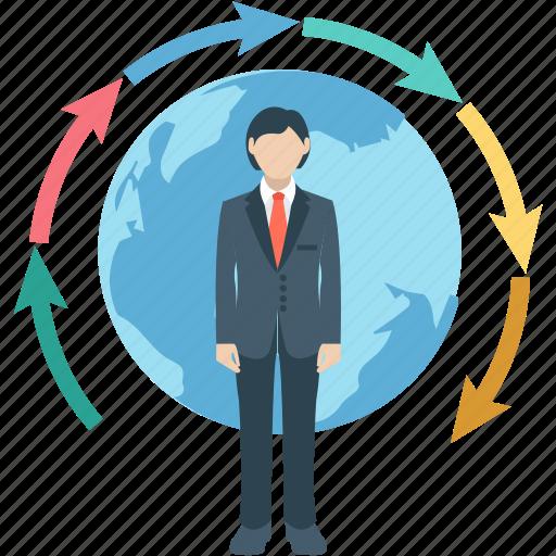 business, business process, businessman, development, global icon