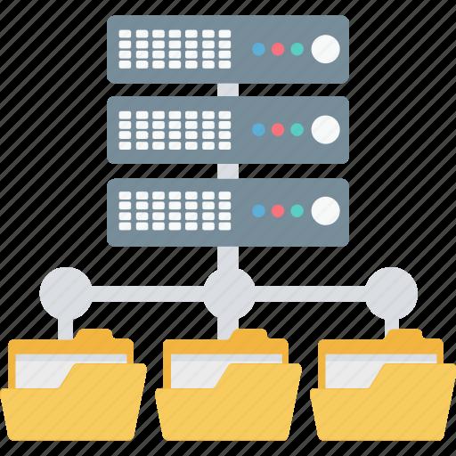data center, data network, folder, server, shared icon