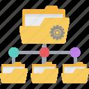cogwheel, data center, data folder, data network, sharing settings