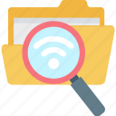 file search, folder search, internet, wifi connection, wifi data search icon