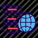 data server, data storage, datacenter, dataserver, dataserver network, global database, worldwide data storage icon
