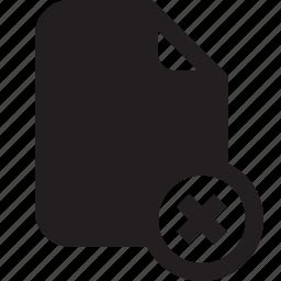 cross, delete, document, file, important, memo, paper icon