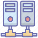 connected server, database server, server hosting, server racks, shared database icon
