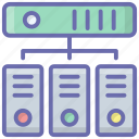 connected server, database hosting, database server, hosting network, server hosting icon