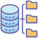 database archives, database files, database folder, files sharing, network storage icon