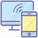 connected devices, mobile signal, phone connected, wireless devices, wireless technology icon