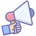 advertising, announcement, bullhorn, marketing, megaphone, promotion tool, publicity icon