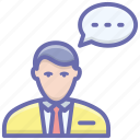 man chat, man talk, speech, speech bubble, talk, user message icon