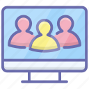 company team, monitor users, online group, online team, online user icon