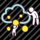 cloud computing, cloud hosting, cloud network, cloud sharing, cloud storage, cloud technology icon