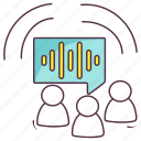 group communication, talking, verbal discussion, vocal discussion, voice overs icon