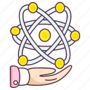 atom molecule, atoms orbits, nuclear physics, physical chemistry, physics symbol icon