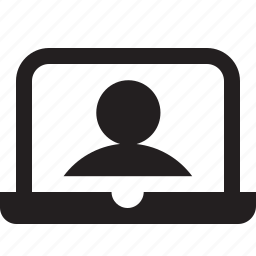 device, display, laptop, profile, screen, user, webcam icon