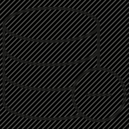 data center, database, internet, minus, network, server icon