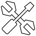 cross, fix, repair, screwdriver, tool, wrench icon