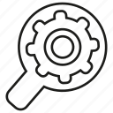cog, gear, magnifier glass, optimization, search, search engine icon