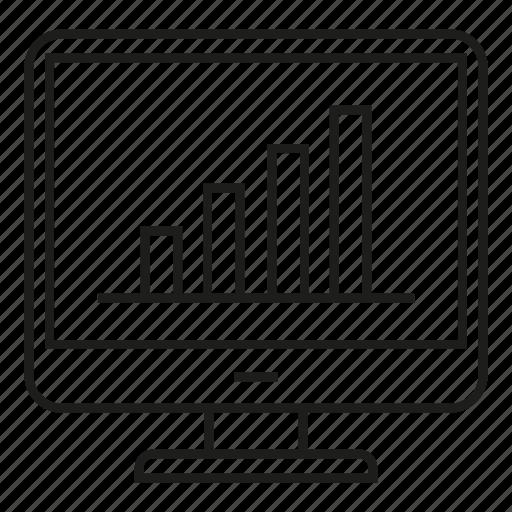 analytics, chart, computer, data, graph, stats icon