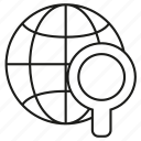 seo, world, globe, magnifier glass, search