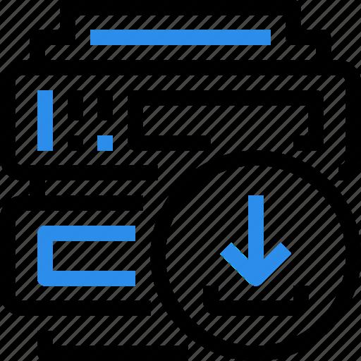 arrow, cloud, data, database, download, internet, server icon