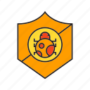 virus protection, security, bug, shield icon