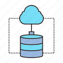 cloud computing, connection, data center, database, hosting, network, server icon