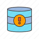 data center, database, error, hosting, network, server, warning icon