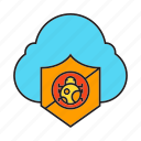 bug, cloud, cloud computing, shield, virus protection icon
