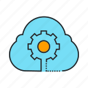 cloud, cloud computing, gear, network, setting icon