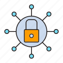 key, lock, network security, security, share icon
