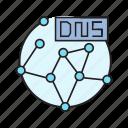connection, dns, globe, hostname, link, network, server