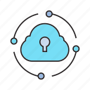 cloud, cloud computing, cloud security, lock, network, network security icon