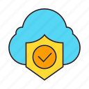 check, cloud computing, cloud security, network, protection, shield icon
