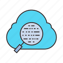cloud computing, magnifier, scan, search, seo icon