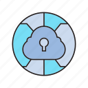 cloud security, lock, network, protection, security icon