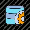 backup, database, gear, internet, operation system, setting, webserver icon