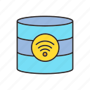database, internet, network, wifi icon