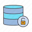database, key, lock, security, server icon