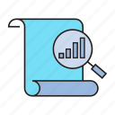 analytics, chart, data analysis, doc, file scan, graph, magnifier icon