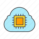 chip, cloud, cloud computing, microchip, processor icon