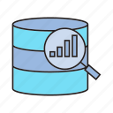 chart, data analysis, data analytics, graph, magnifier, scan icon