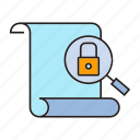 document, key, lock, magnifier, paper, scan, security icon