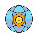 check, protection, security, shield, tick, world icon