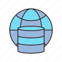 backup, data center, database, globe icon