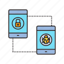 bug, key, mobile security, mobilephone, security, smartphone, sync icon