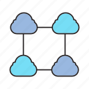cloud computing, cloud connect, connection, link, network icon