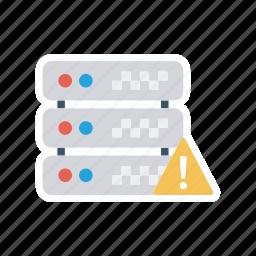 database, error, exclamation, server icon