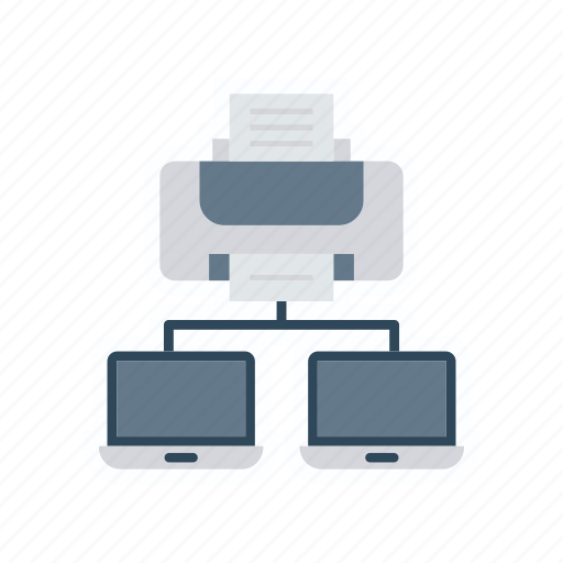 connect, connection, network, printer icon