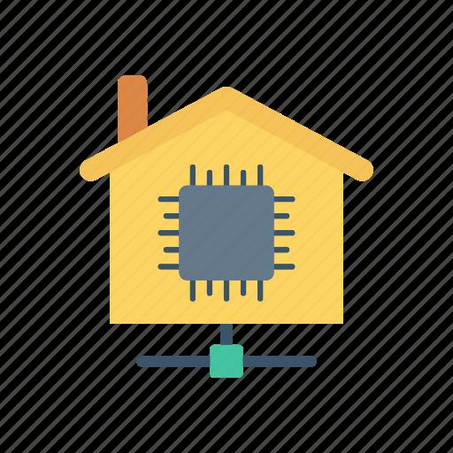 chip, estate, house, micro icon