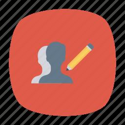 edit, employee, pen, user icon